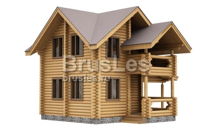 Дачный дом из оцилиндрованного бревна с навесом для автомобиля Елизавета (11-46-2) | Brusles